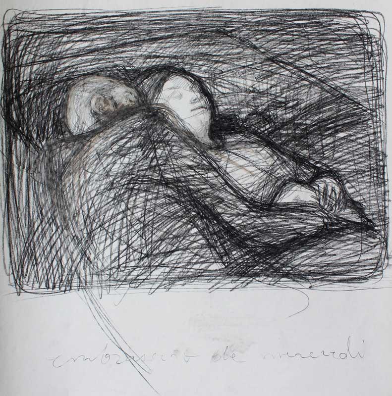 Wednesday's Embrace, Pen on paper, 2016,55x55cm